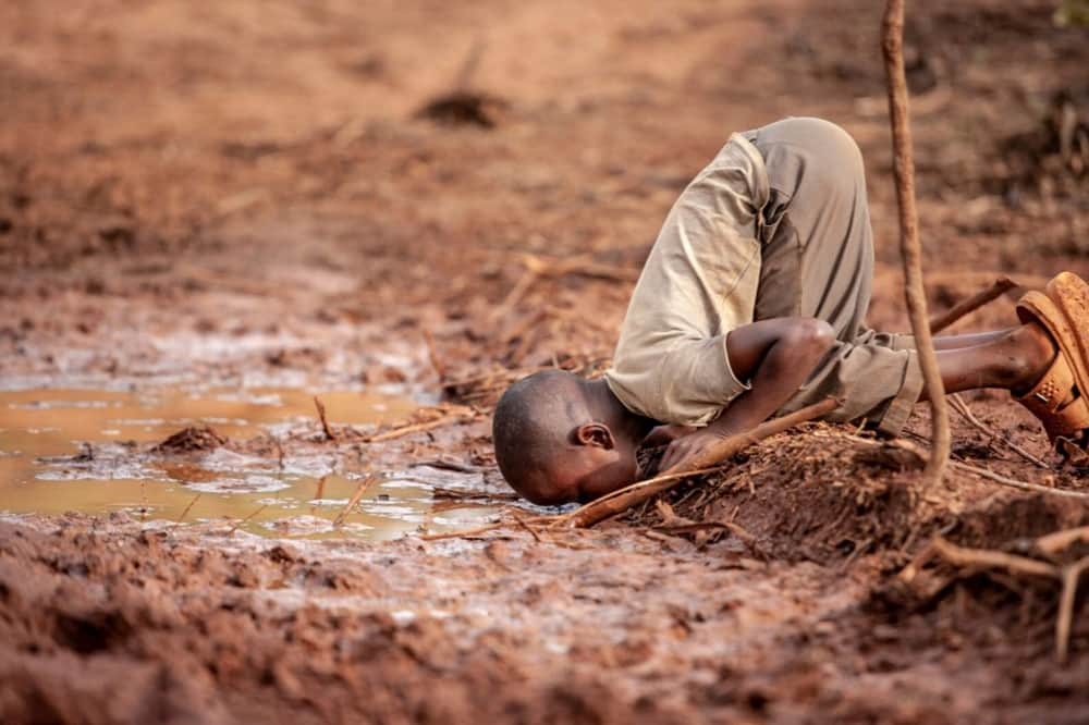 Child drinking dirty water from puddle