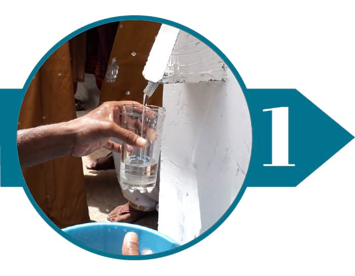 Filling up a glass of water from BioSand Water Filter
