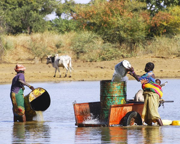 Women collect water to irrigate crops in Burkina Faso