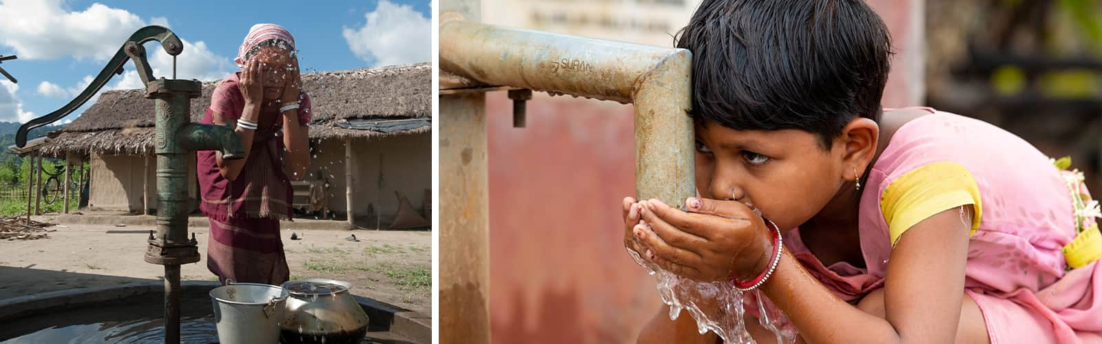 Mother and child drinking clean drinking water from Jesus Wells