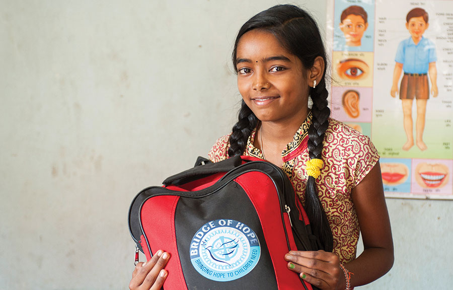Ashmita, who is now able to go to school because of Bridge of Hope.
