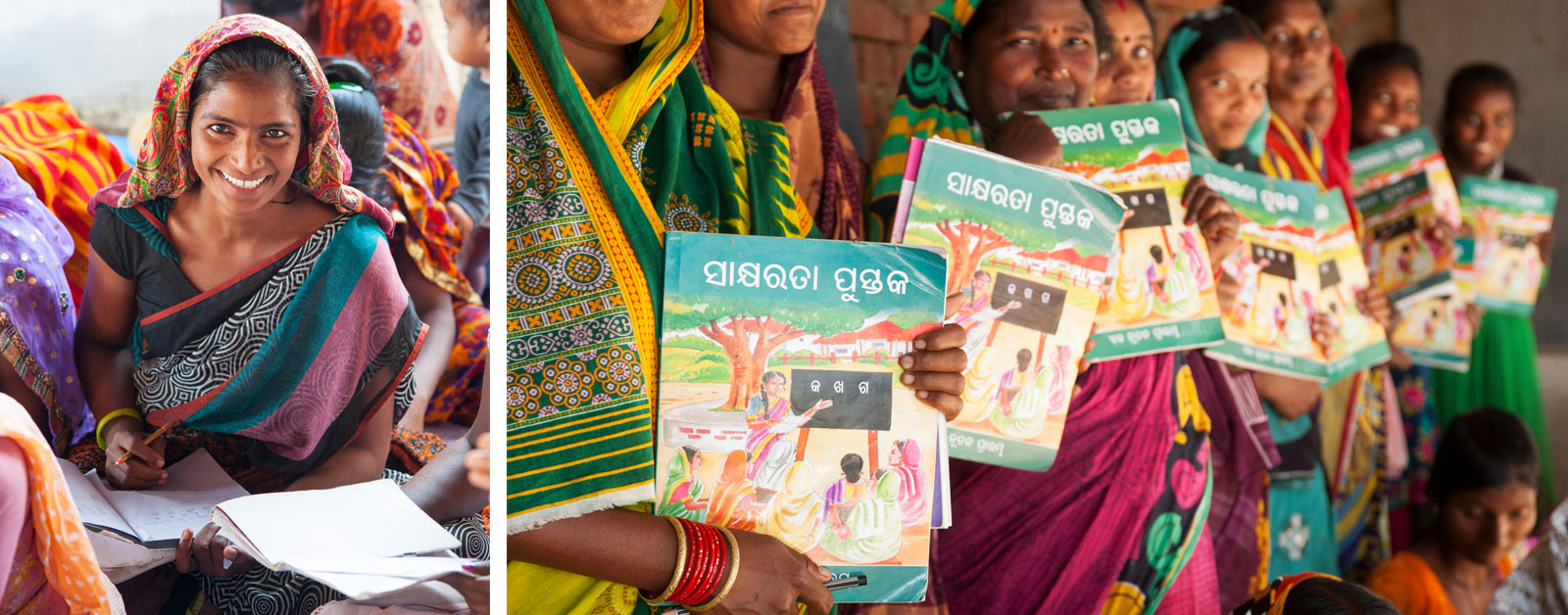 Women, learning to read for the first time, hold literacy books.