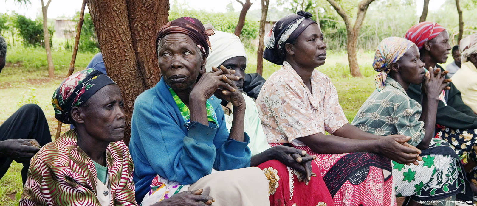 Widows in Meru, Kenya, Africa who have lost their husbands and have only themselves as a group to look after each other.