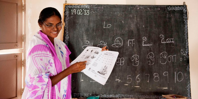 A women's literacy class in South Asia