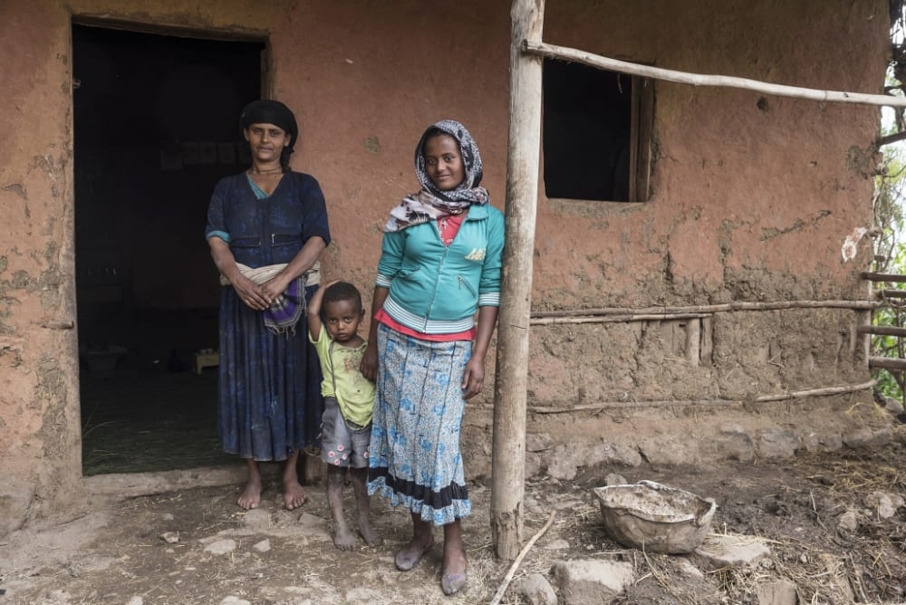 A mother, daughter and child in Ethiopia, where child marriages are common.