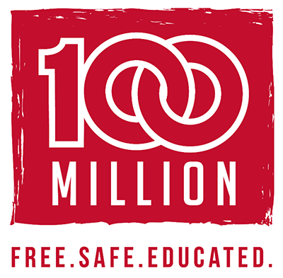 The logo for 100 million for 100 million