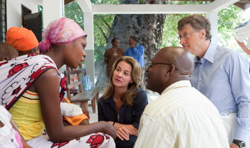 Bill and Melinda Gates talking about malaria at the Bagamoyo District Hospital in Tanzania.