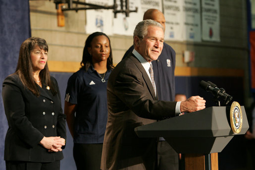 President George W. Bush gestures as he addresses his remarks in honor of Malaria Awareness Day Friday, April 25, 2008