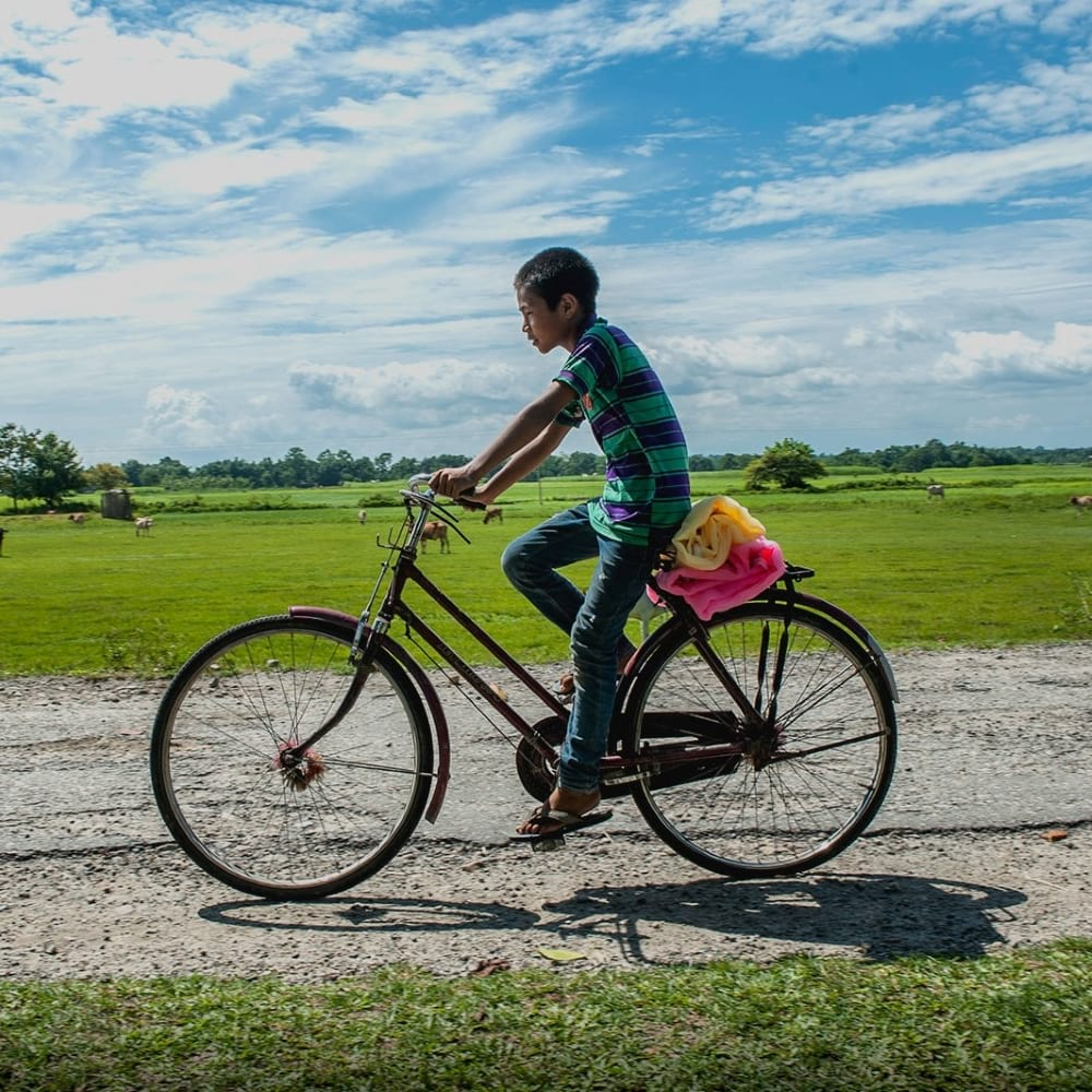 Boy riding bicycle carying mosquito nets