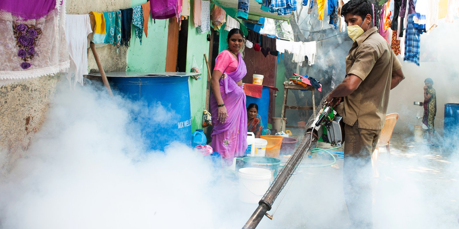 Spraying for mosquitoes in India