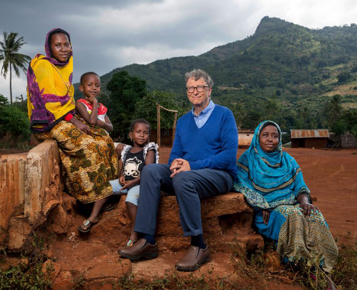 Bill Gates on a recent visit to Tanzinia