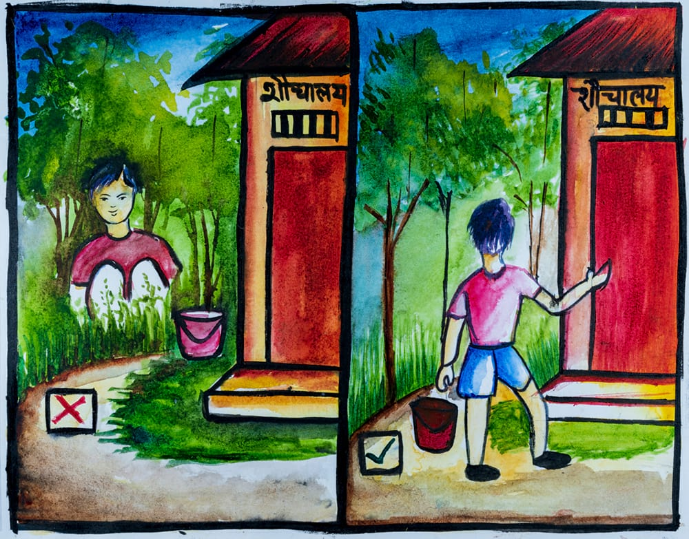 Cartoon drawing of do's and don't - Don't open defecate; Do use toilet
