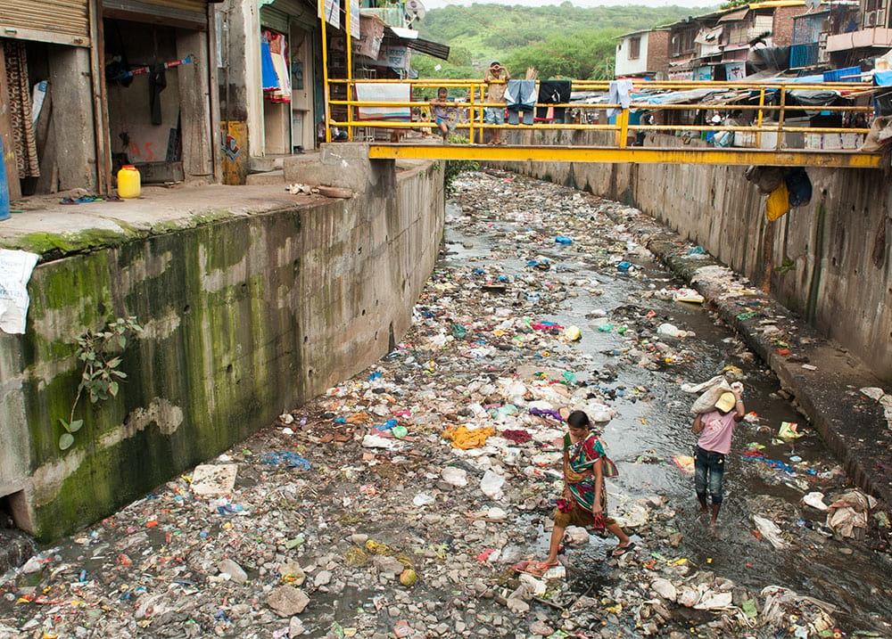 A slum in Asia without outdoor toilets