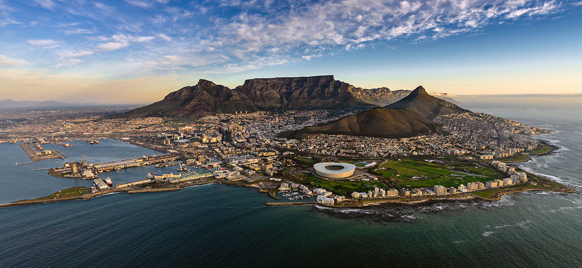 An aerial view of Cape Town, South Africa, where acute an acute water shortage has required water crisis solutions.