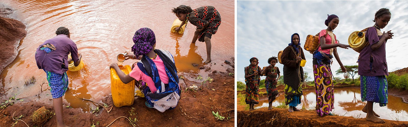 In Gayo village, Ethiopia, a group of women and young girls collect water from a rain water pool. They use tablets to purify the water before they drink it. When there is water scarcity or a water shortage, mostly women and children bear the burden of collecting clean water for their families.