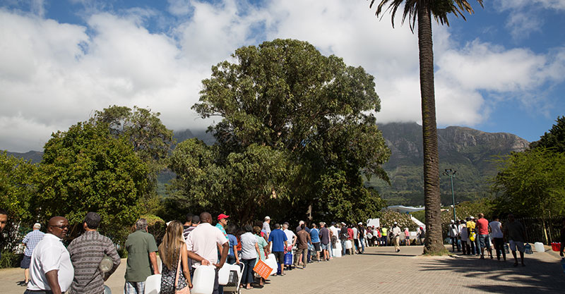 An uncanny sight in a first-world country: Lines of people waiting to collect natural spring water during the drought in Cape Town, South Africa