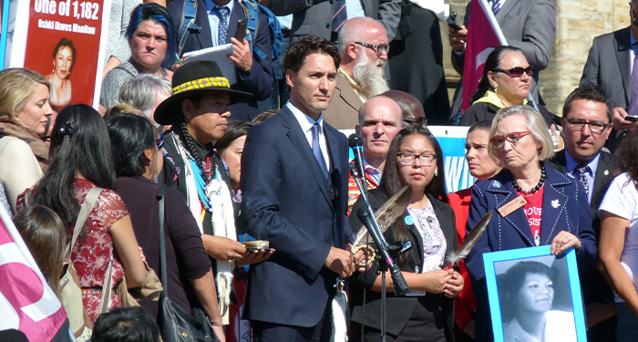 Prime Minister of Canada, Justin Trudeau, giving a speech on missing and murdered Indigenous women in front of Parliament
