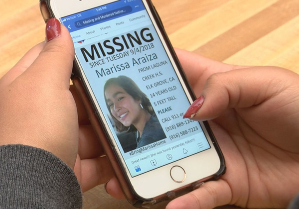 Searching missing women on iPhone.
