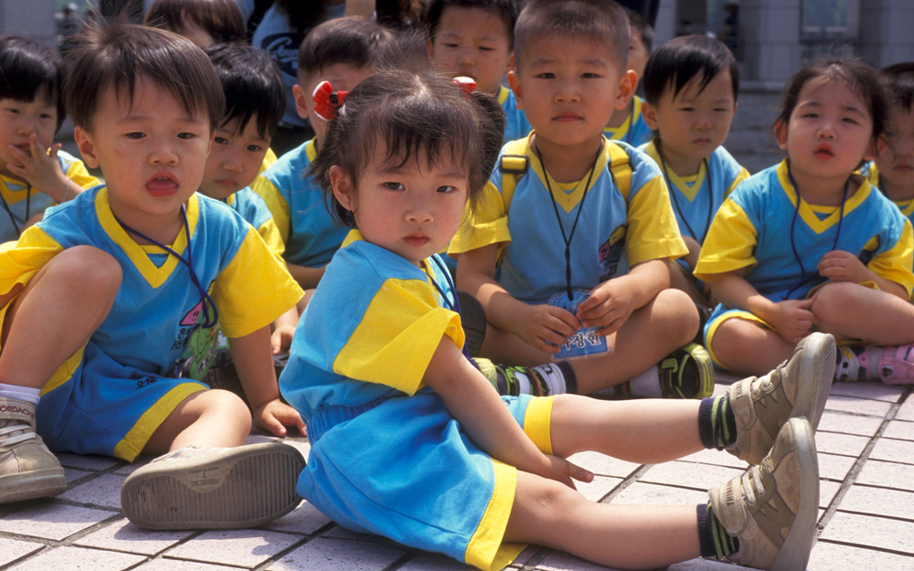 korean school children